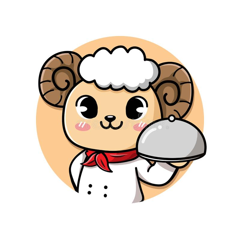 Logo sheep chef cute smile. Logo cute and friendly sheep chef holds a delicious steak lamb meat dish royalty free illustration