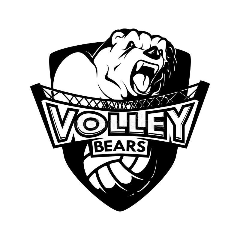 Logo Shield Volleyball Sport Bears blanco negro Team Emblem monocromático stock de ilustración
