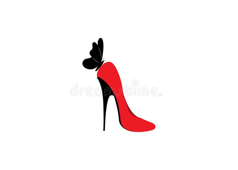 Logo shoe store, shop, fashion collection, boutique label. Company logo design. Red high heel shoes with butterfly, isolate stock illustration