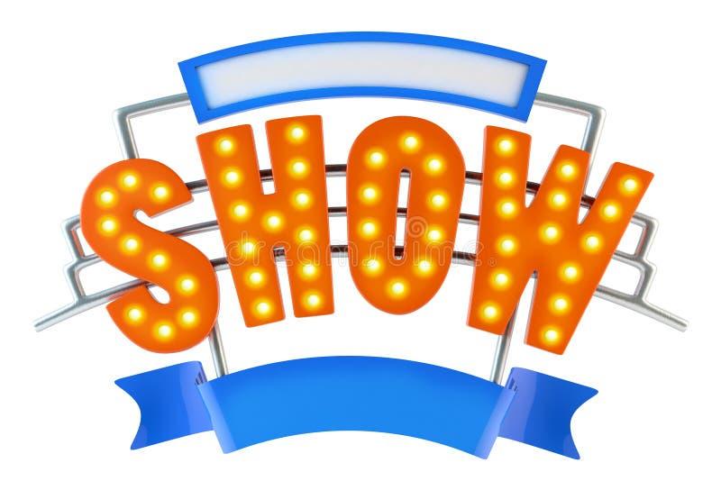 Logo Show - mostra do molde do texto - sinal da mostra da luz do famoso do vintage, tipografia ilustração royalty free