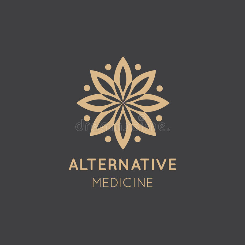 Logo Sign of Alternative Medicine. IV Vitamin Therapy, Anti-Aging, Wellness, Ayurveda, Chinese Medicine. Holistic centre royalty free stock photography