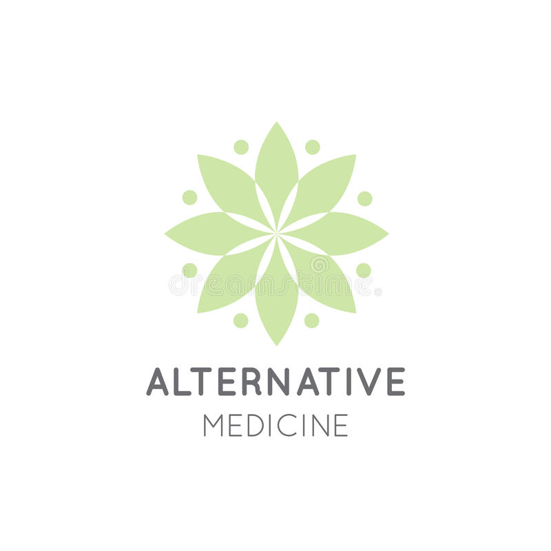 Logo Sign av alternativ medicin droppvitaminterapi som Anti--åldras, Wellness, Ayurveda stock illustrationer
