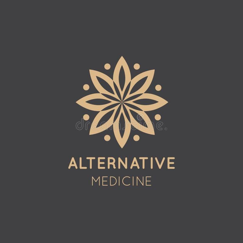 Logo Sign av alternativ medicin droppvitaminterapi som Anti--åldras, Wellness, Ayurveda, kinesisk medicin Holistisk mitt royaltyfri fotografi