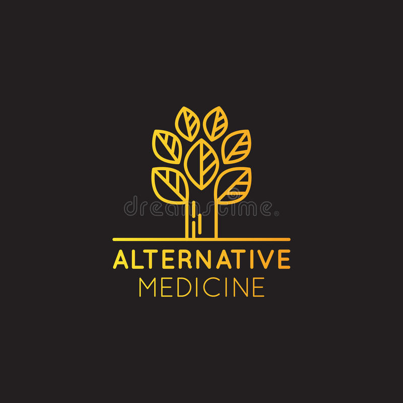 Logo Sign av alternativ medicin droppvitaminterapi som Anti--åldras, Wellness, Ayurveda, kinesisk medicin Holistisk mitt vektor illustrationer