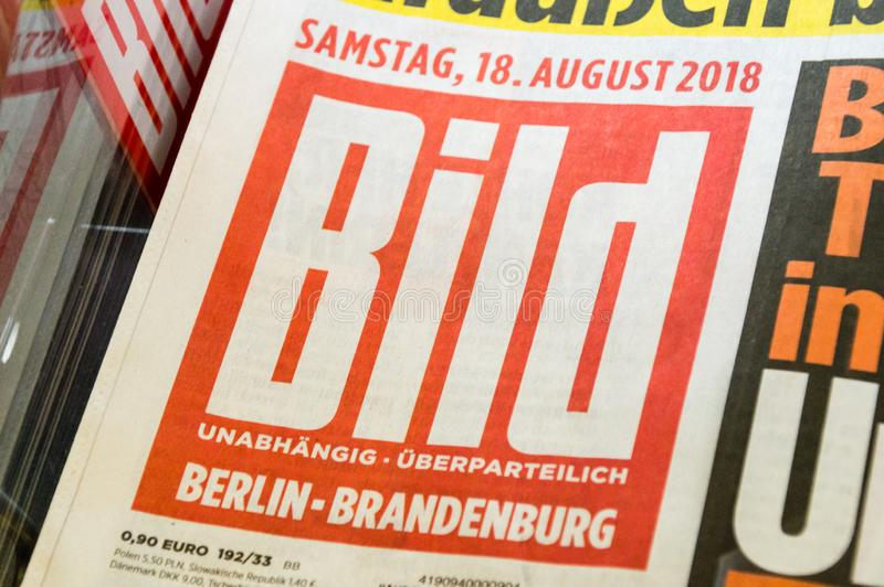 Logo and sign of Bild tabloid published by Axel Springer AG. Berlin, Germany - August 18, 2018: Logo and sign of Bild tabloid published by Axel Springer AG stock image