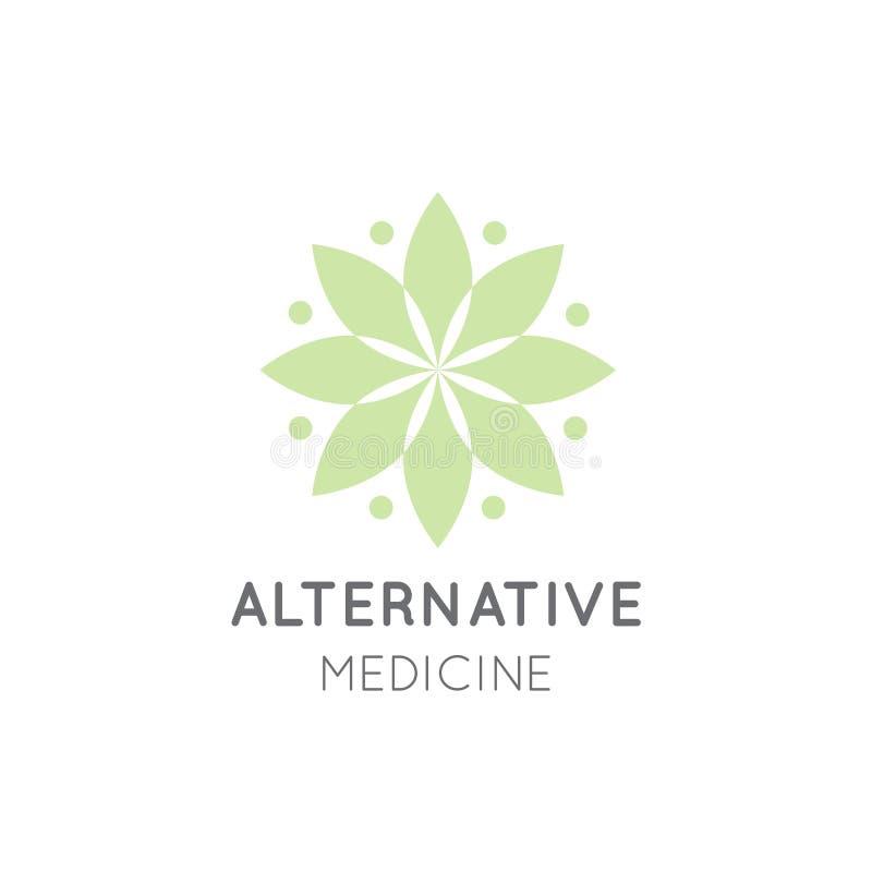 Logo Sign da medicina alternativa IV terapia da vitamina, antienvelhecimento, bem-estar, Ayurveda ilustração stock