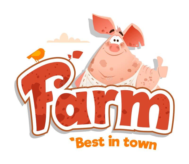 Logo sign design template meat shop farm restaurant menu bbq vector illustration