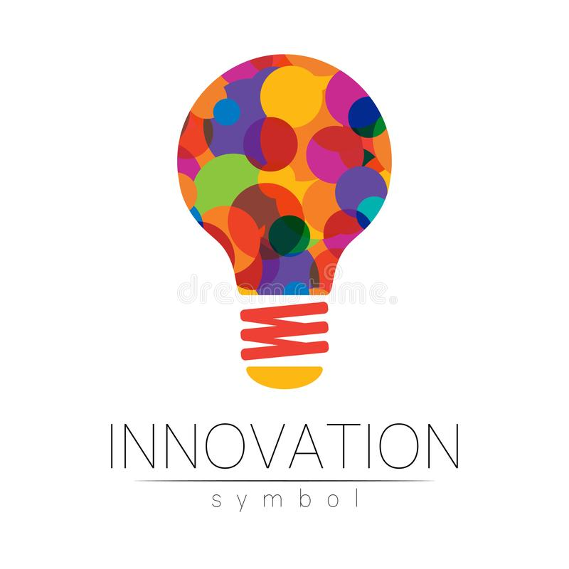 Logo sign of innovation in science. Lamp symbol for concept, business, technology, creative idea, web. Rainbow color. Isolated on white background. Logotype in stock illustration