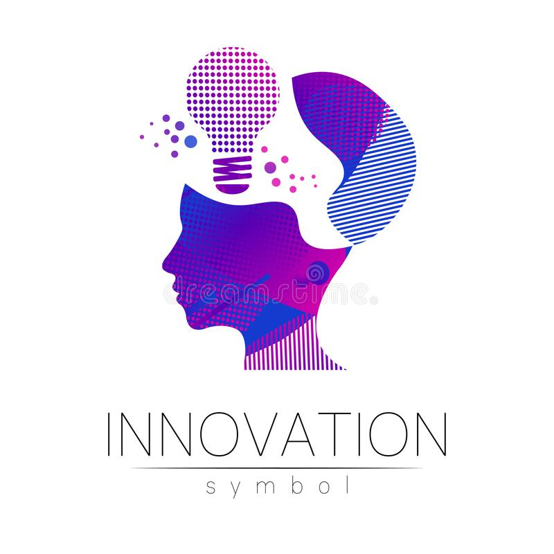 Logo sign of innovation in science. Lamp symbol and human head for concept, business, technology, creative idea, web stock illustration