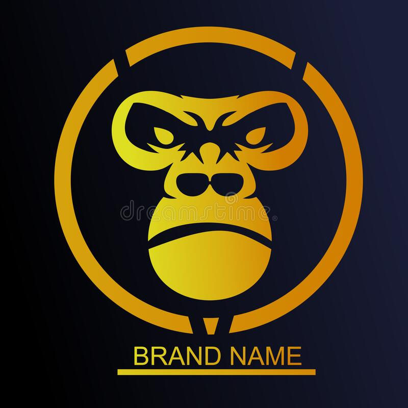 Logo silverback for bussiness. Gorilla logo design with gold color royalty free stock image