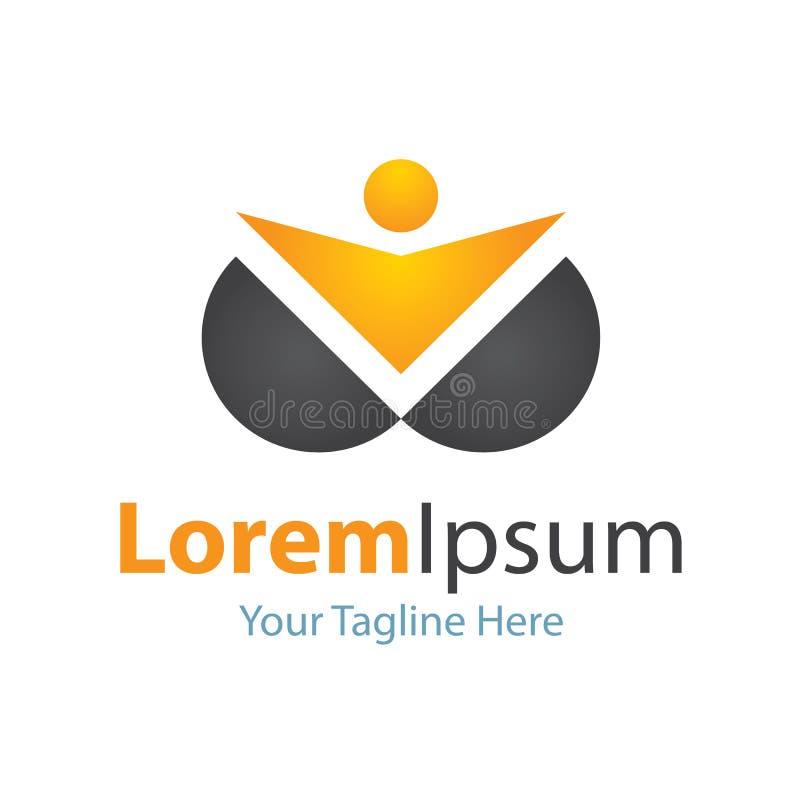 Logo simple d'éléments d'icône d'or d'homme d'innovateur de chef de foyer de la vie illustration libre de droits
