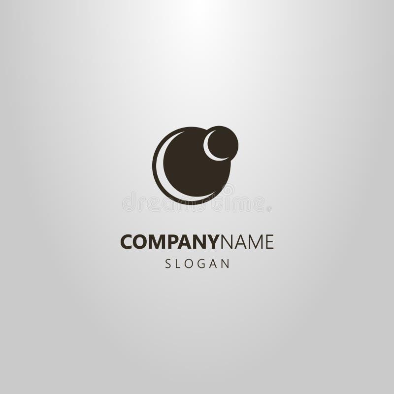 Logo simple d'abrégé sur vecteur de deux planètes de différentes tailles illustration libre de droits