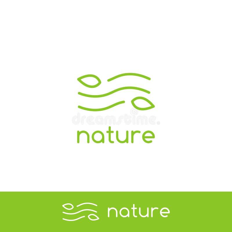 Logo simple de nature de vague de vent d'air pur avec la ligne minimale symbole d'icône de monoline d'ensemble de feuille et de v illustration stock