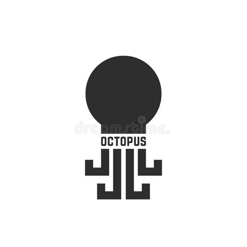 Logo simple noir de poulpe d'isolement sur le blanc illustration stock