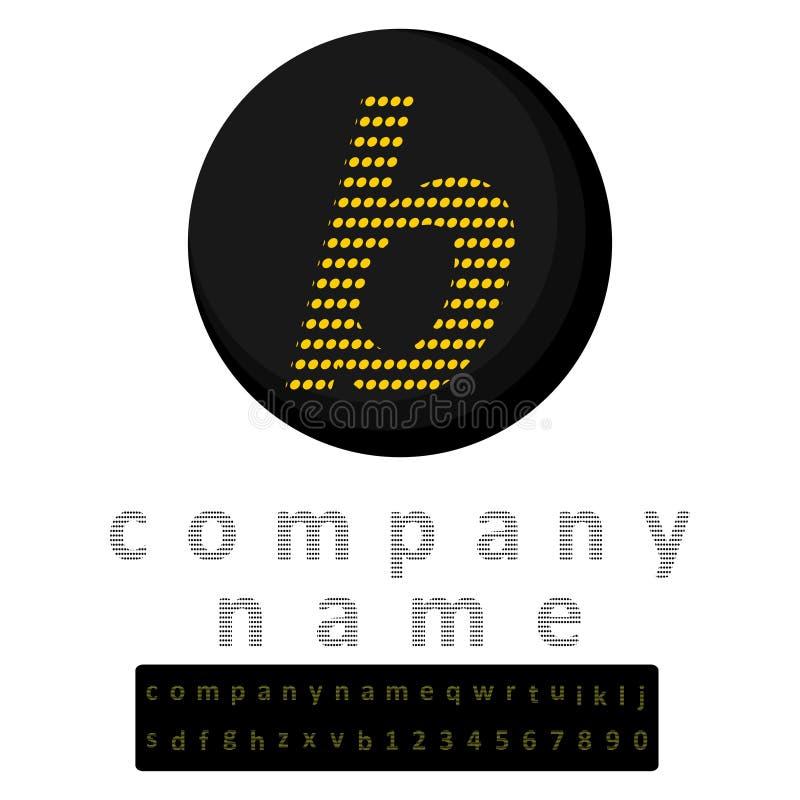 logo simple Une lettre b en jaune de style de LED à l'arrière-plan du noir Une bonification sous forme d'alphabet en entier et d' illustration libre de droits