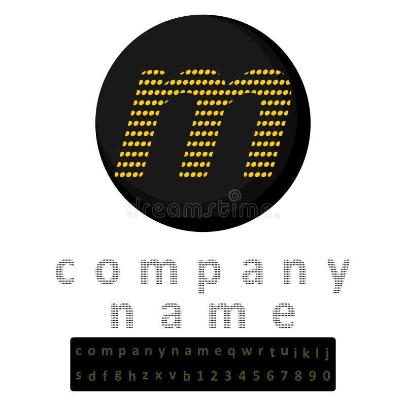 logo simple Une lettre m en jaune de style de LED à l'arrière-plan du noir Une bonification sous forme d'alphabet en entier et d' photo stock