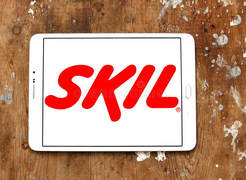 SKIL Power Tools company logo. Logo of SKIL Power Tools company on samsung tablet on wooden background. SKIL Power Tools is a wholly owned subsidiary of Chervon royalty free stock image