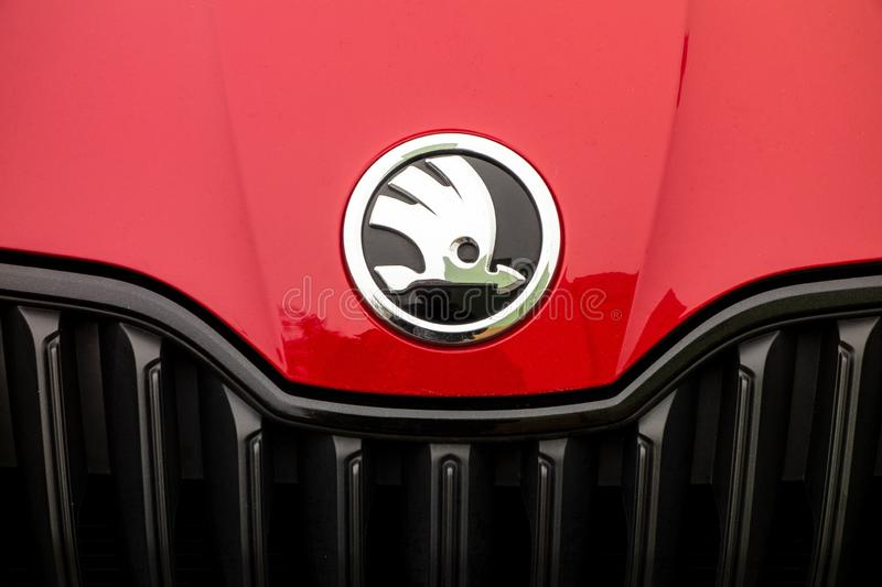 Logo of the Skoda car manufacturer on a red Fabia Monte Carlo royalty free stock images