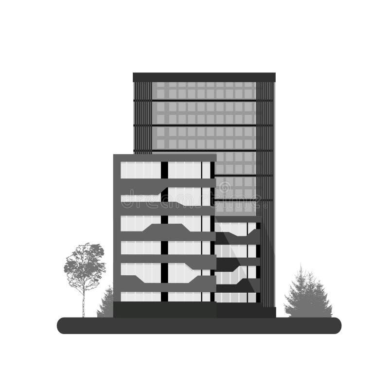 Logo Skyscraper-Gebäude Vektorillustration Wohnturmstadt-Geschäftsarchitektur lokalisiert stock abbildung
