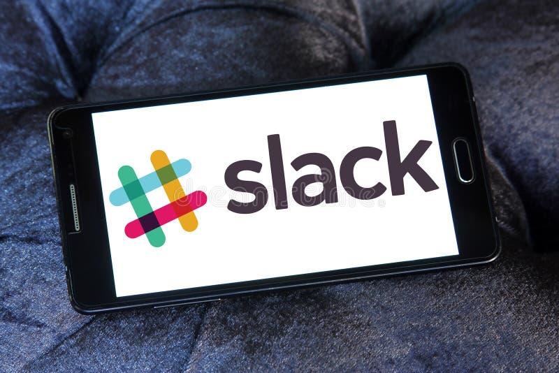 Slack Technologies company logo. Logo of Slack Technologies on samsung mobile. Slack Technologies is a Canadian software company developed the chatting program stock photos