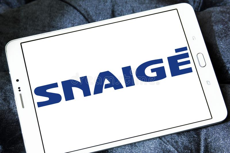 Snaige company logo. Logo of Snaige company on samsung tablet. Snaige is a Lithuanian industrial company and the only producer of refrigerators in the Baltic royalty free stock photo