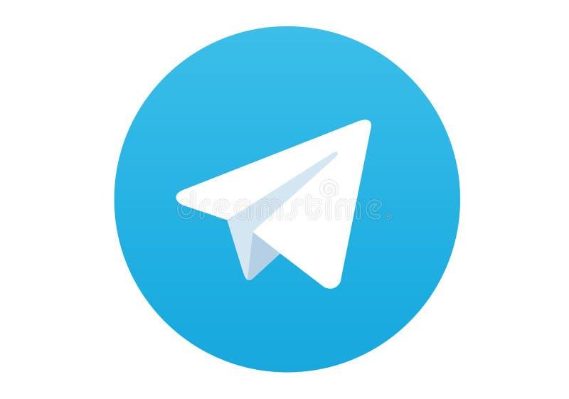 Logo of the social network Telegram stock photo