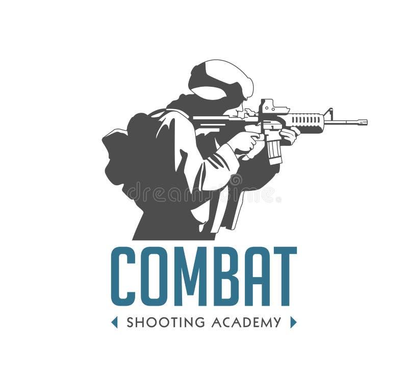 Logo - soldat avec l'arme automatique illustration libre de droits