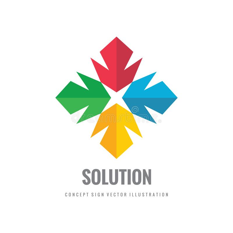Logo solution - abstract vector illustration. Four colored shapes. Color geometric sign. Star cross symbol. stock illustration