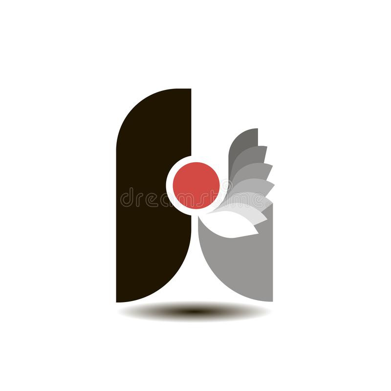 Logo sotto forma di nero e di rosso della lettera A illustrazione di stock