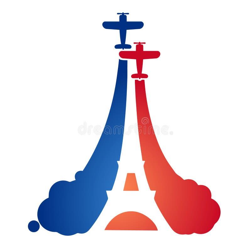 Logo sous forme d'avions de sport de vol à un salon de l'aéronautique avec la silhouette de Tour Eiffel illustration stock
