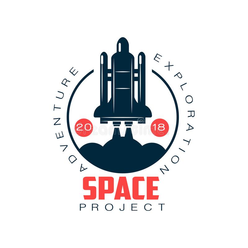 Logo of spacecraft launch. Space exploration and adventure. Rocket symbol. Abstract label in flat style. Vector element vector illustration