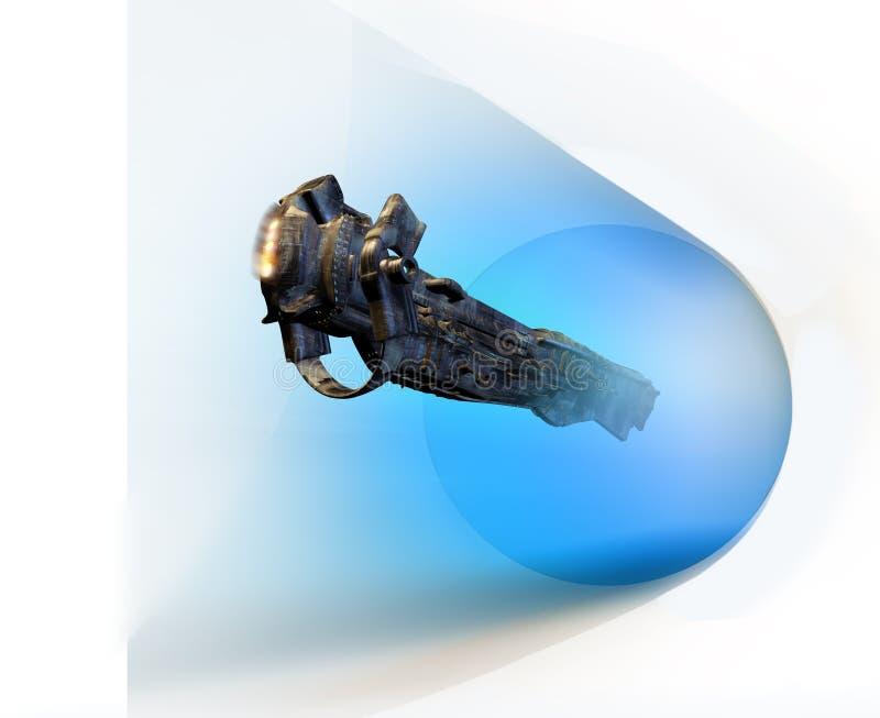 Logo spaceship discovering far worlds stock illustration