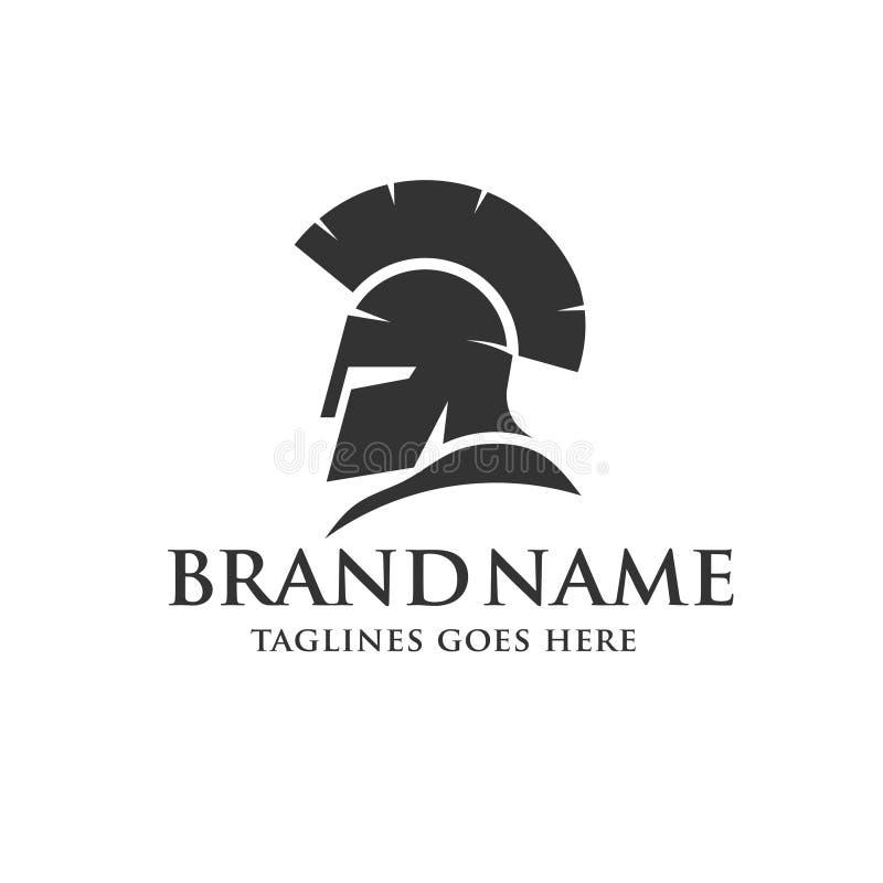 Logo spartano del casco illustrazione di stock