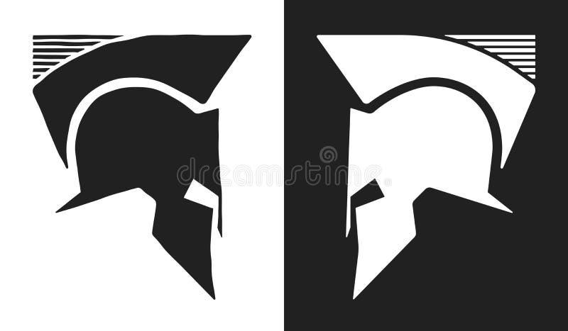 Logo spartano del casco illustrazione vettoriale