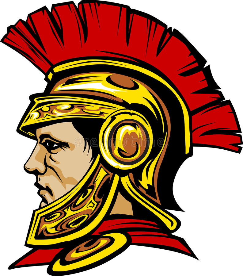 Logo spartiate/Trojan de mascotte illustration stock