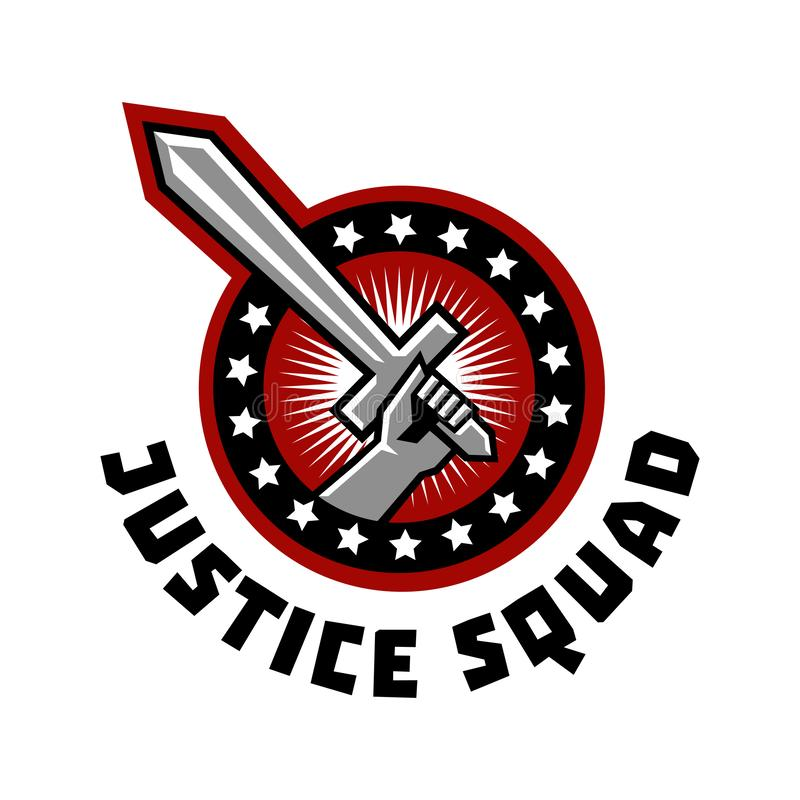 Logo squad of justice, sword in hand. Vector illustration. Flat style vector illustration