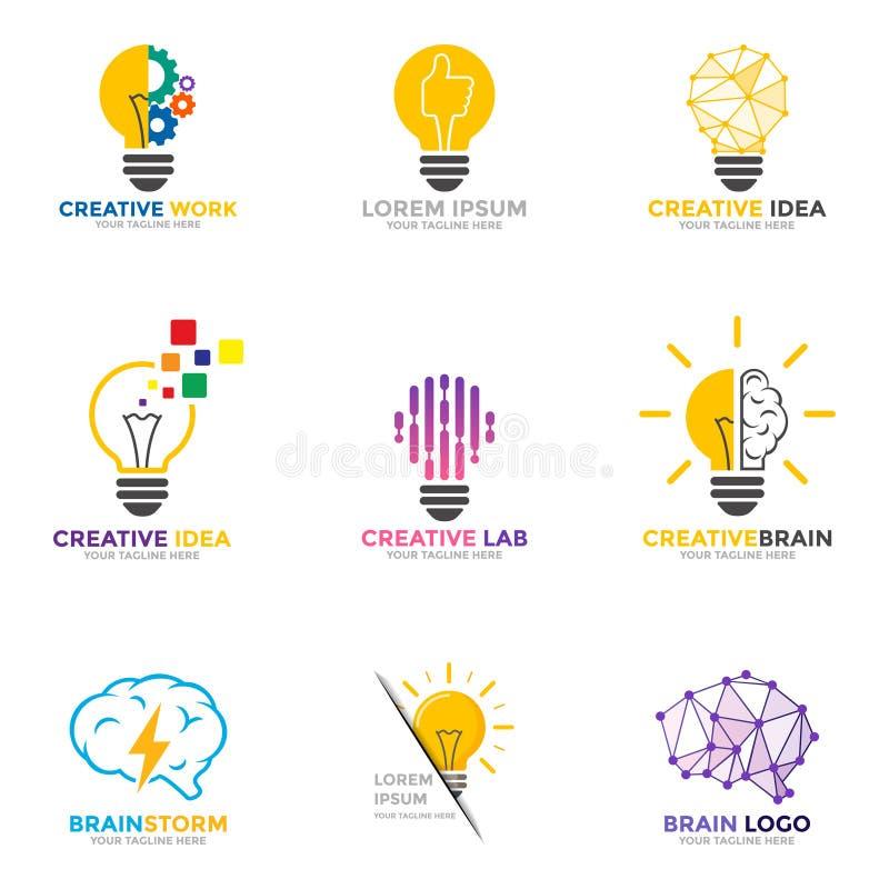 Logo stabilito della lampadina Simbolo di idea e di energia, icone di tecnologia royalty illustrazione gratis