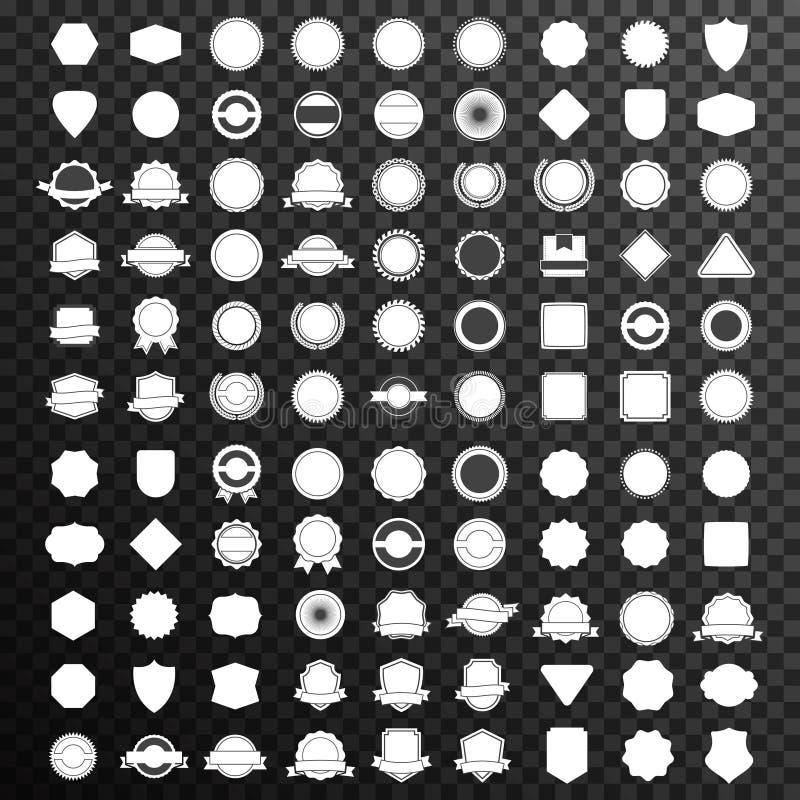 Logo stabilito mega del distintivo su spazio negativo royalty illustrazione gratis