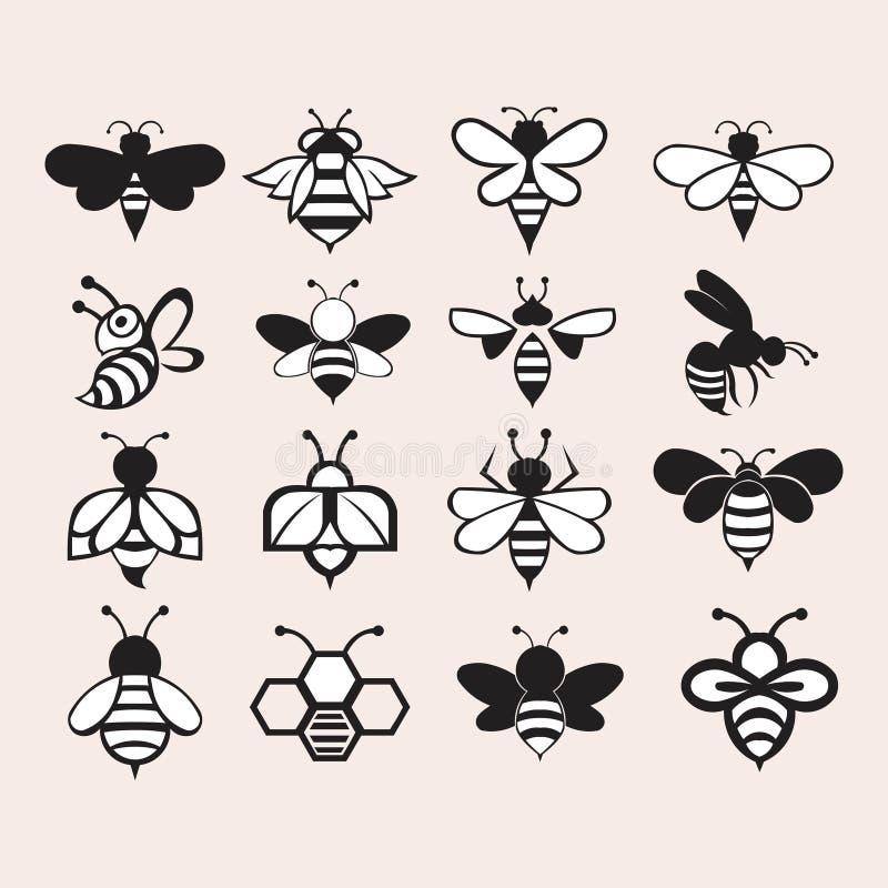 Logo stabilito mega della raccolta dell'ape illustrazione di stock