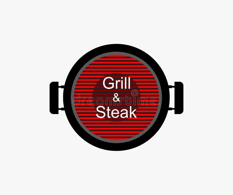 Logo stek na pustym tle i grill Szablonu majcher dla grilla BBQ ilustracja wektor