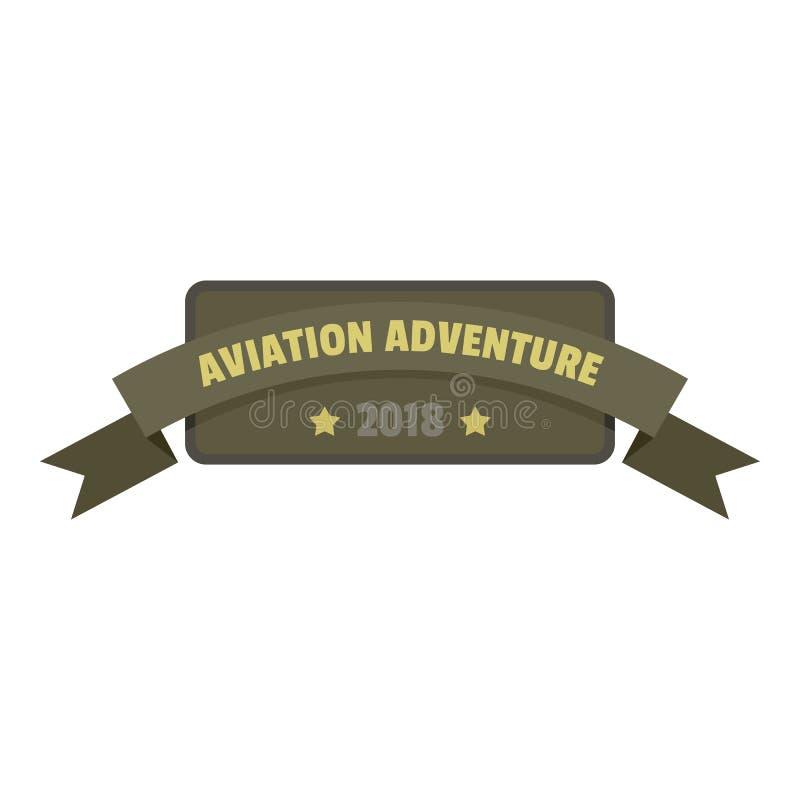 Logo 2018, stile piano dell'icona di avventura di aviazione illustrazione vettoriale