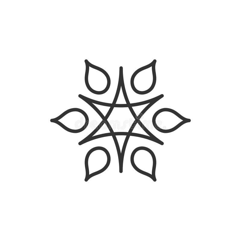 Logo stilizzato del sole Allini l'icona del sole, la stella, fiore Logo nero isolato del profilo su fondo bianco illustrazione vettoriale