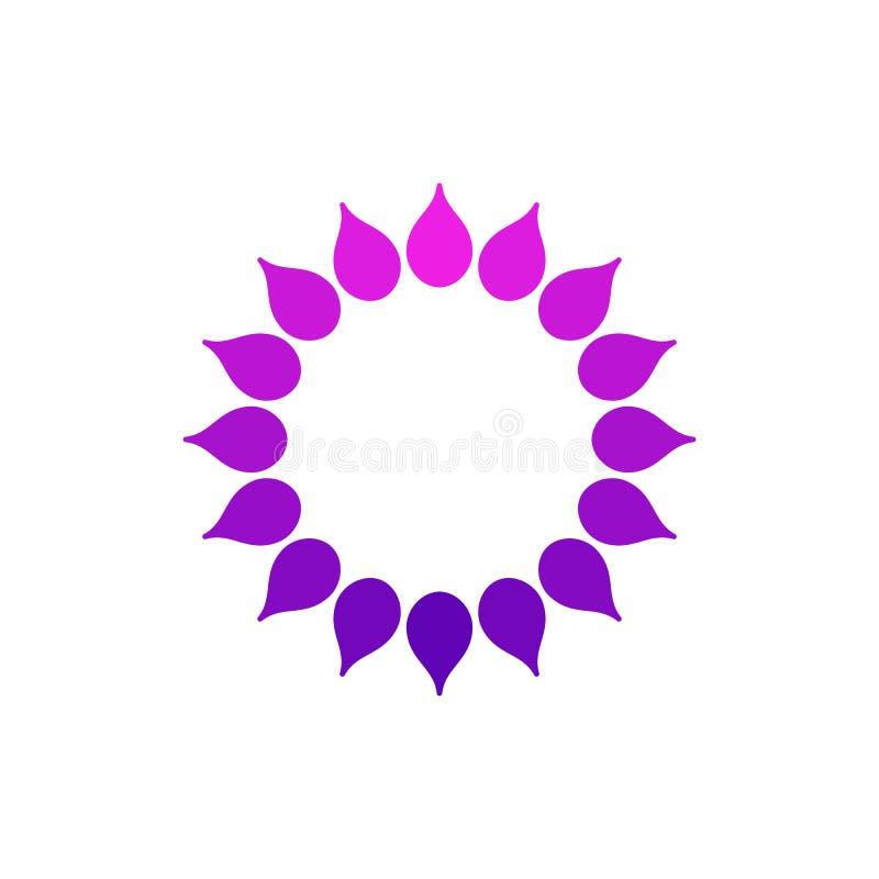 Logo stilizzato del sole Icona rotonda del sole, fiore Logo porpora rosa isolato su fondo bianco Può usare come la struttura illustrazione di stock
