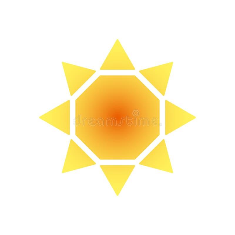 Logo stilizzato del sole Icona rotonda del sole, fiore Logo rosso giallo arancione isolato su fondo bianco royalty illustrazione gratis