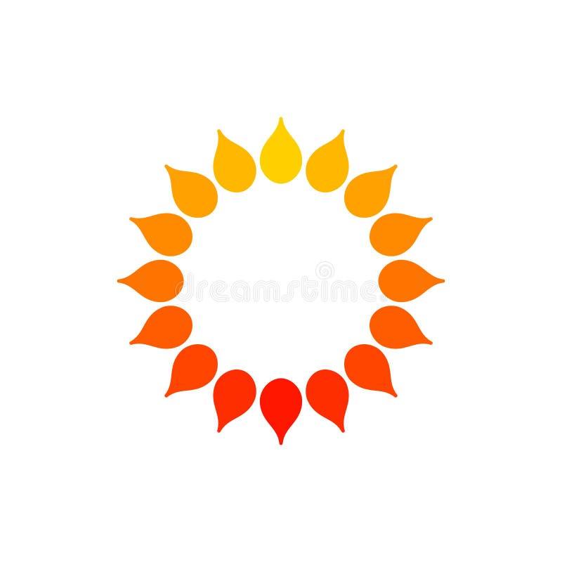 Logo stilizzato del sole Icona rotonda del sole, fiore Logo rosso giallo arancione isolato su fondo bianco Può usare come la stru illustrazione vettoriale