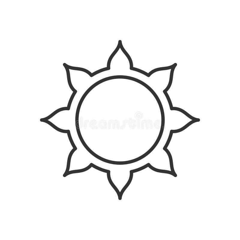 Logo stilizzato del sole Linea icona di sole, fiore Logo nero isolato del profilo su fondo bianco illustrazione di stock