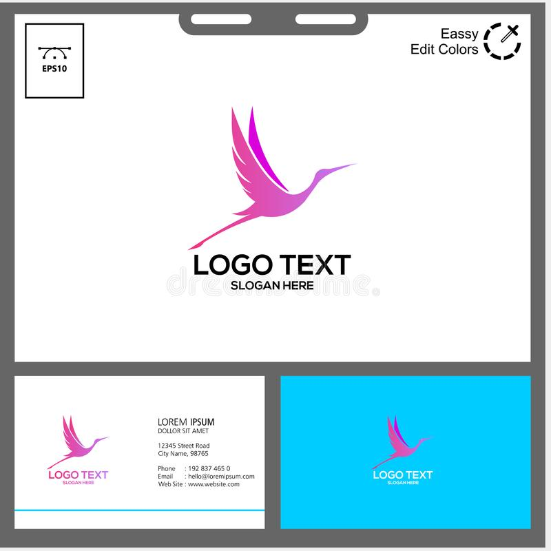 the minimalist logo of Stork bird royalty free stock photo