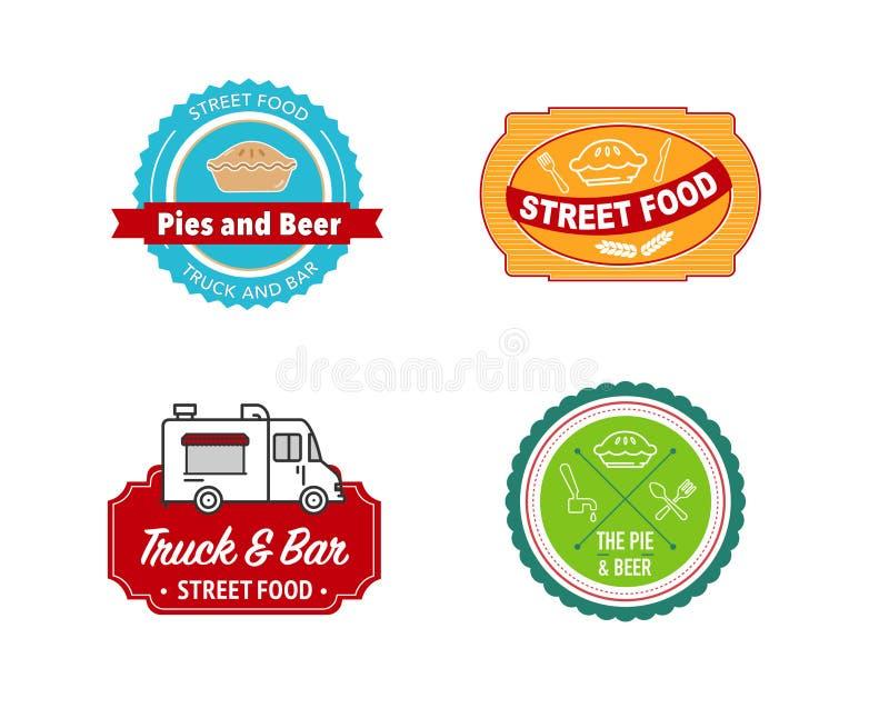 Logo for street food truck vector illustration