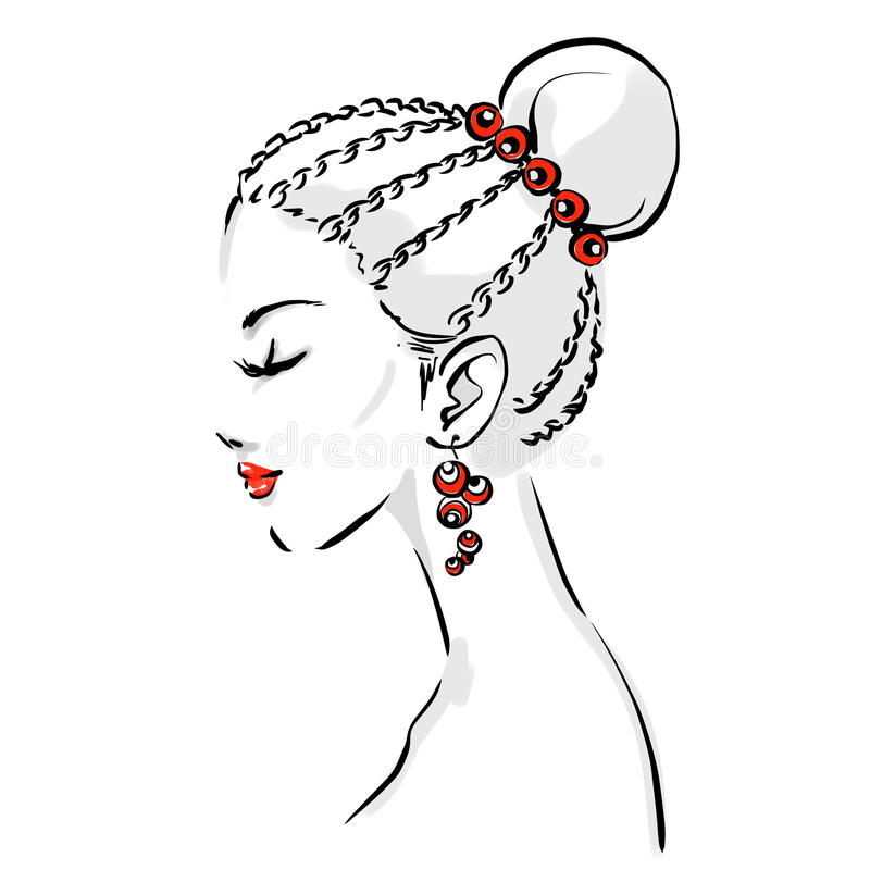Logo with stylish woman haircut. Beautiful woman face with elegant haircut. Portrait of young girl drawing by black lines. Fashion isolated vector illustration royalty free illustration