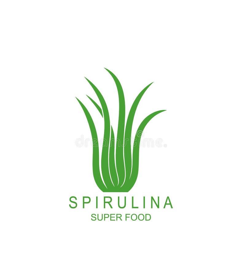 Logo subacqueo di spirulina dell'alga Spirulina subacqueo isolato dell'alga su fondo bianco illustrazione di stock